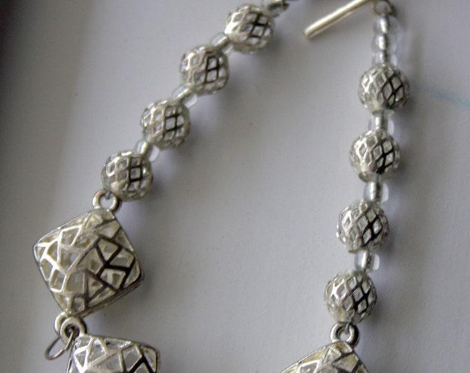 Silver Diamond Shaped Cage Bracelet