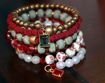 Cranberry Red and Sea Foam Memory Wire Wrist Wrap Cuff Bracelet