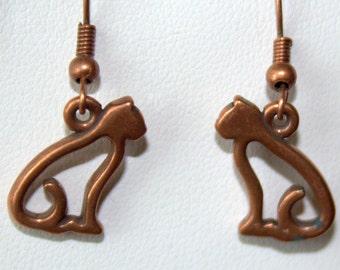 Copper Kitties Earrings