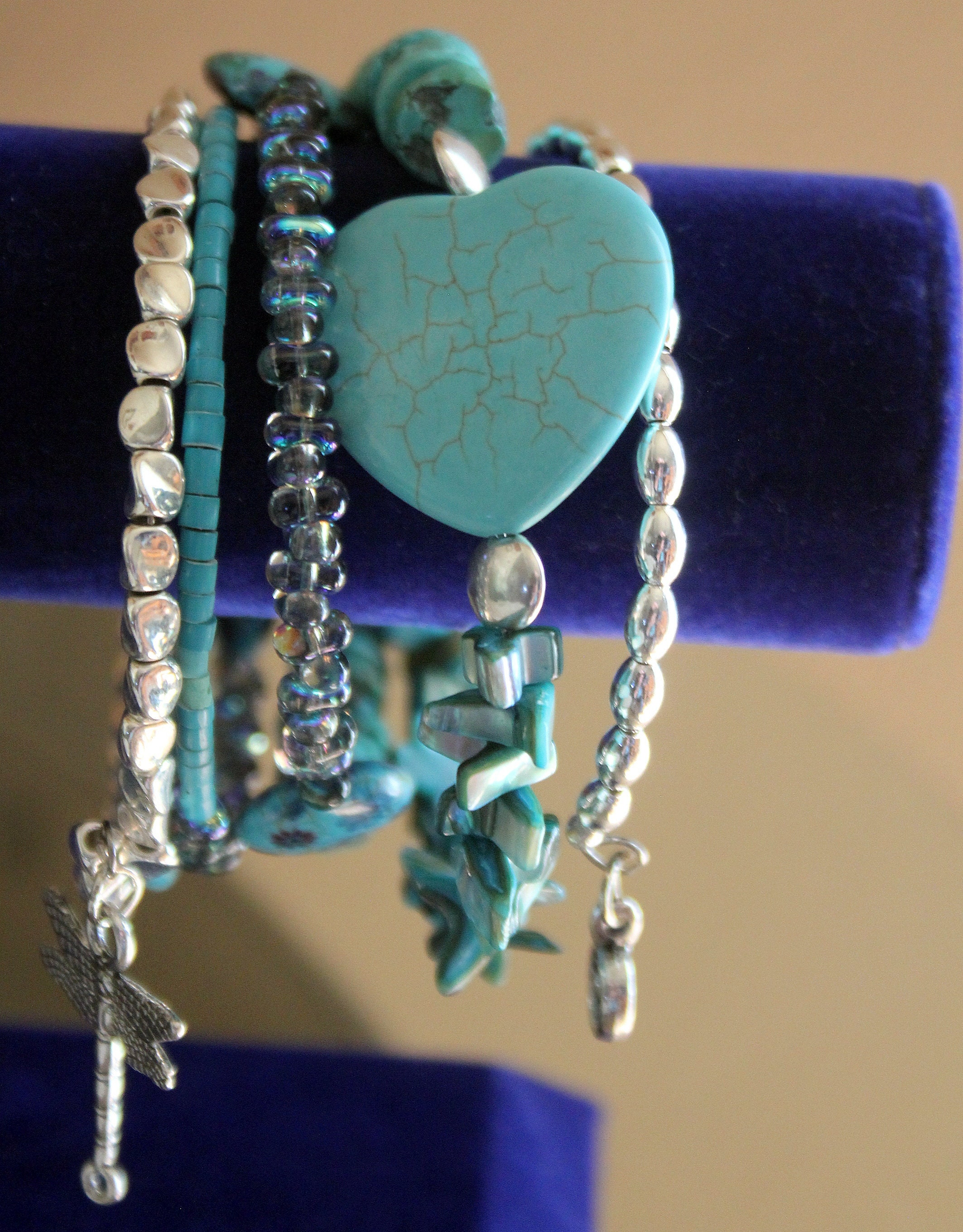 Turquoise Heart and Butterfly Wrist Wrap Memory Wire Cuff