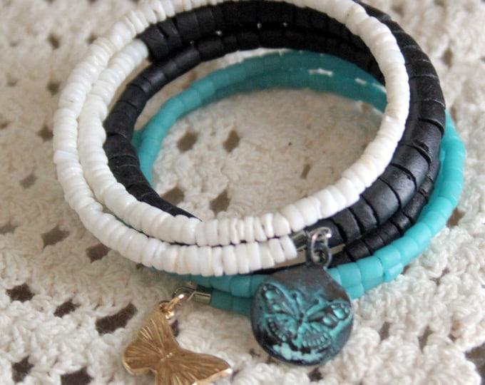 White Aqua and Black Heishi Wrist Wrap Cuff Bracelet with Enamel Butterfly