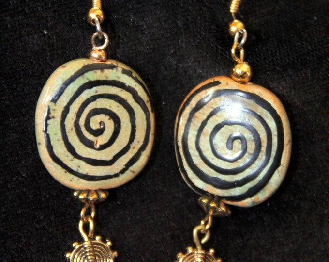 Kazuri Bead with Spiral Boho Earrings