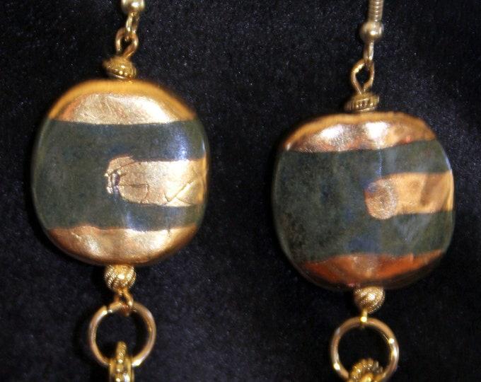 Green and Gold Kazuri Striped Earrings