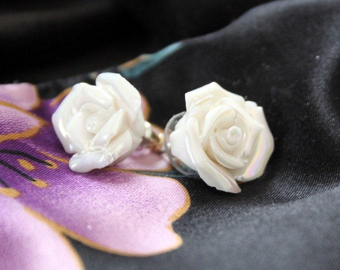 White Rose Post Earrings