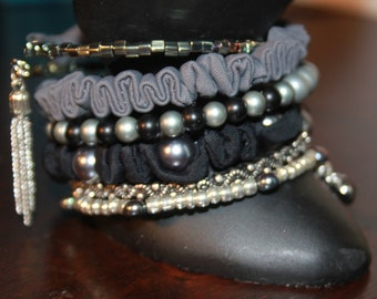 Black and Silver Fabric and Bead wrist Wrap Memory Wire Cuff Bracelet