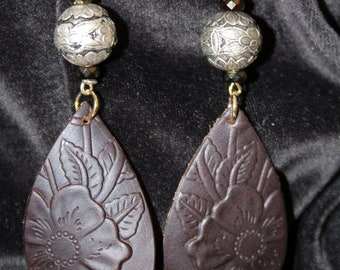 Stamped Dark Brown Leather and Silver Floral Bead Earrings