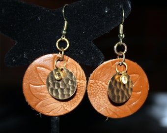 Sunflower Stamped Leather Earrings