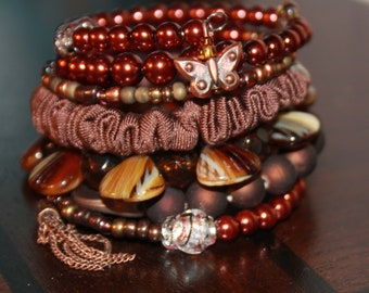 Rusts and Brown Beads with Fiber Memory Wire Wrist Cuff