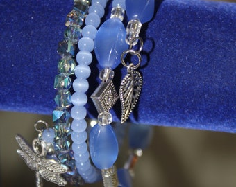 Sky Blue Beaded Wrap Wrist Stackable Cuff with Silver Dragonfly