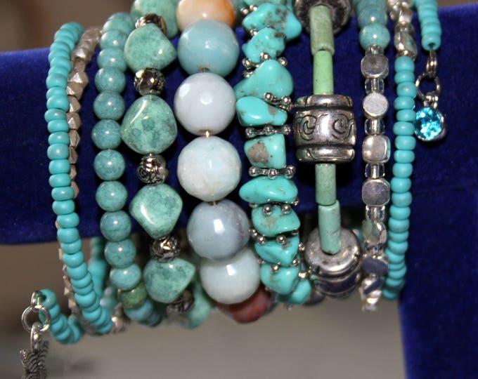 Turquoise, Silver and Semi-Precious Stone Wrist Wrap Cuff Bracelet