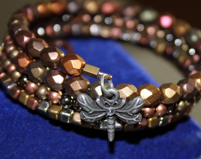 Mixed Metal Patina Wrist Wrap Cuff Bracelet With Dragonfly and Heart Charms