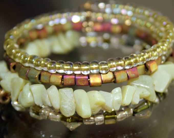 Yellow Jade and Czech Glass Wrist Wrap Cuff Bracelet