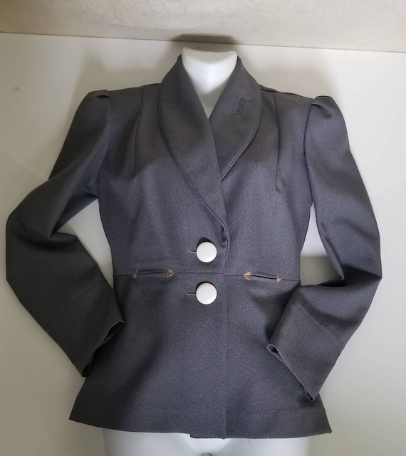 Blazer 1940s style blue grey fabric pinstriped in