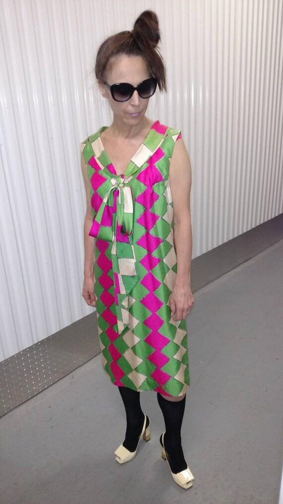 MOD Color block vintage mod neon dress late 60's