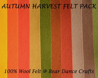 100% Wool Felt Pack Autumn Harvest Tones- Free Shipping in Canada, Discounted to USA