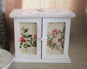 Cottage Chic Floral Jewelry Box / Keepsake Box / Little Floral Cupboard for Jewelry, Keepsakes, Trinkets and More