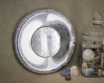 Shabby Silver Plate Tray / Wm A Rogers Meadowbrook Tray / Cottage Chic Silver Plate Tray