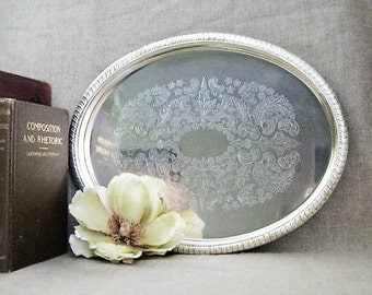 Oval SILVER Plate Tray VINTAGE Oval Silverplate Tray / Cottage Chic Silver Plate TRAY
