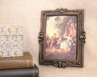 Vintage Ornate Framed Renaissance-Style Print / Framed Italian Renaissance Print