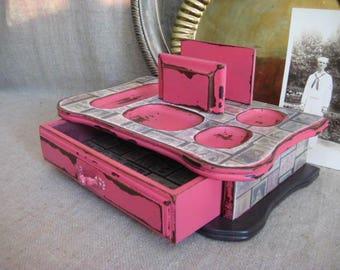 Super Shabby Desk Organizer in Pink  / Dresser Valet in Pink Melon / Cottage Chic Unique Vanity/Jewelry Storage and Organization