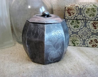 Vintage Metal Trinket Box /Chinese Metal Trinket Box w/ Floral Etching and Bakelite(?) Ornament on Lid