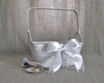 Beach Wedding Flower Girl Basket in White / Simple Shabby White Basket for Wedding or Reception Decor