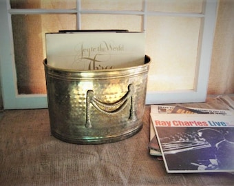 Very Vintage Brass Magazine Holder Shabby BRASS Planter, /Trashcan VINTAGE Brass Container for Storage and Organization