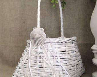 Shabby White Seashell Flower Girl Basket for Beach Wedding / White Basket with Seashell for Wedding or Home Decor