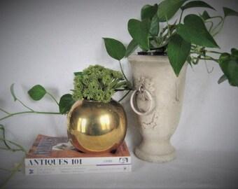 Cool Mid Mod BRASS Sphere Planter Vase  SLEEK Urban Mod Heavy Brass Orb/Vase / Centerpiece ROUND Brass Planter for Wedding or Home Decor