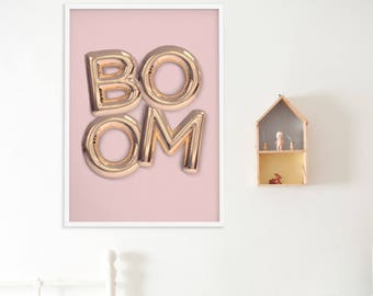 Girls Room Decor, Playroom Poster, Balloons Wall Decor, Pink Poster, Scandinavian Poster, Typography Poster, Kids Print, Nursery Decor
