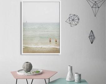 Large Minimalist Pastel Photography / Summer Beach Print / Scandinavian Art Photograph For Your Home Walls / Living Room Decor / Fresh Color