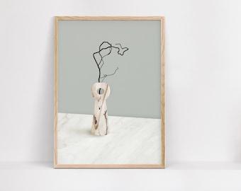 PRINTABLE Poster, Vase Nordic Print, Minimal Wall Art, Scandinavian Art, Living Room Poster, Wall Decor, Digital Download, DIY Modern Poster
