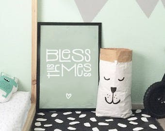 PRINTABLE Poster, Bless This Mess Instant Download DIY Mint Green Modern Poster, Scandinavian art, Typography Print Kids Room, gift for kids