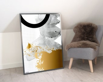 Gold Abstract Geometric Print, Living Room Decor, 70x100 Wall Art, Modern Art, Fine Art Print, Contemporary Art, Black and White Decor