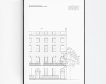 Townhouse, London Belgravia, London Print, London poster, Architecture Wall Art, Art Line poster, Minimalist decor, line drawing Poster