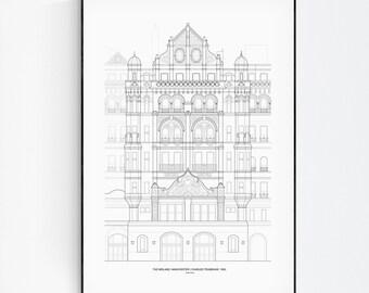 Midland Hotel, British Print, UK poster, England poster, Architecture Wall Art, Art Line poster, Minimalist decor, line drawing Wall Art