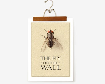 SALE: The Fly on the Wall Poster / Gift for him / Insect / Office Print / Home decor / Dorm Decor / Living Room Print / Gift for Dad