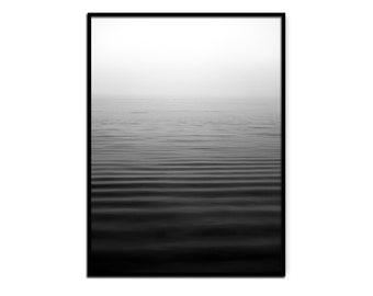 PRINTABLE Black and White Wall Decor, Serene Ocean Art Print Poster, Bedroom Decor, Minimalist Scandinavian Art Poster, Digital Download