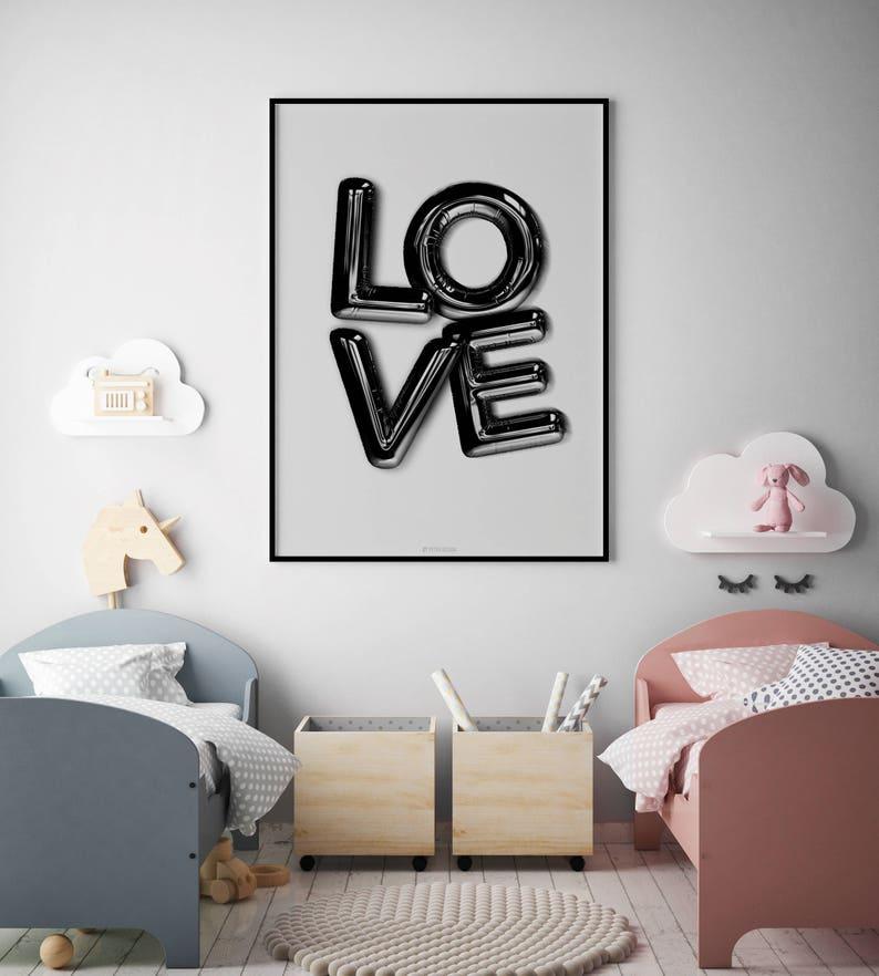 Amore lettera nera palloncino amore Poster decorazione della | Etsy