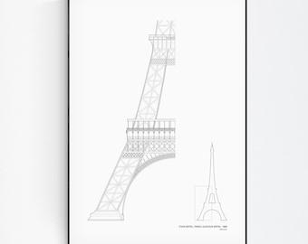 Tour Eiffel, Paris Print, Paris poster, Eiffel Tower poster, Architecture Wall Art, Art Line poster, Minimalist decor, line drawing Poster