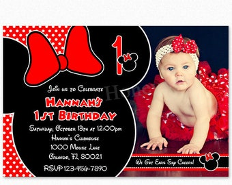 Polka Dot Minnie Mouse Birthday Party Invitation, Red, Black, Personalized, Printable or Printed