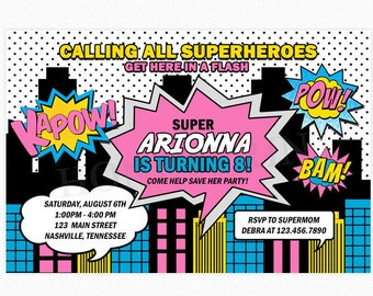 Superhero Invitation, Girl Superhero Invitation, Superhero Birthday Party, Comic Book Invitation, Personalized, Printable or Printed