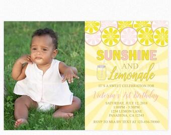 Lemonade Birthday Party Invitation, Lemonade and Sunshine, Lemonade Party, Personalized, Printable or Printed Invitations