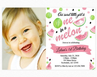 Watermelon Birthday Party Invitation, One in a Melon Invitation, Photo, 1st Birthday, Personalized, Printable or Printed