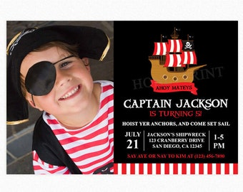 Pirate Ship Birthday Party Invitation, Pirate Photo Invitation, Pirate Party, Boy, Red White Stripes, Printable or Printed Invitations