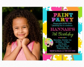 Art Birthday Party Invitation, Paint Birthday Party Invitation, Pink, Green, Blue, Girl, Photo, Printable and Printed