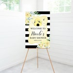 Bumble Bee Baby Shower Welcome Sign, Baby Shower Decoration, Printable Sign or Foam Board Sign Options