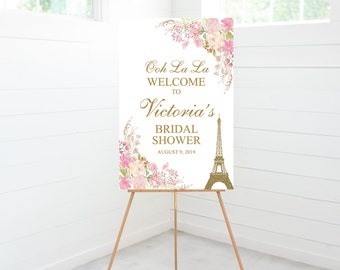 Paris Bridal Shower Welcome Sign, Bridal Shower Decorations, Pink Floral, Foam Board Sign