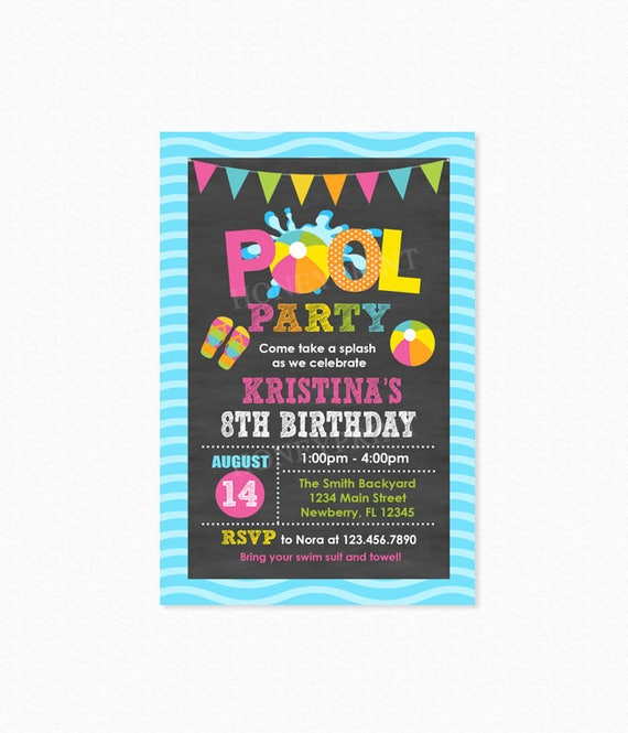 Pool Party Birthday Invitation Invite Girl