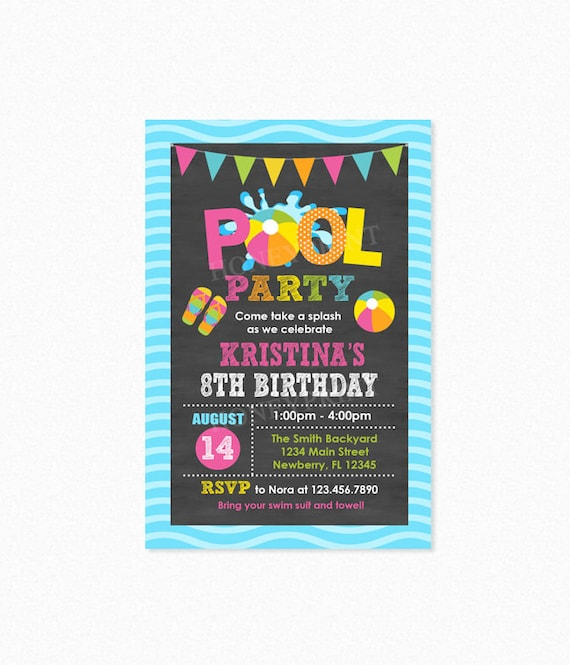Pool Party Birthday Invitation Invite Girl Personalized Printable Or Printed